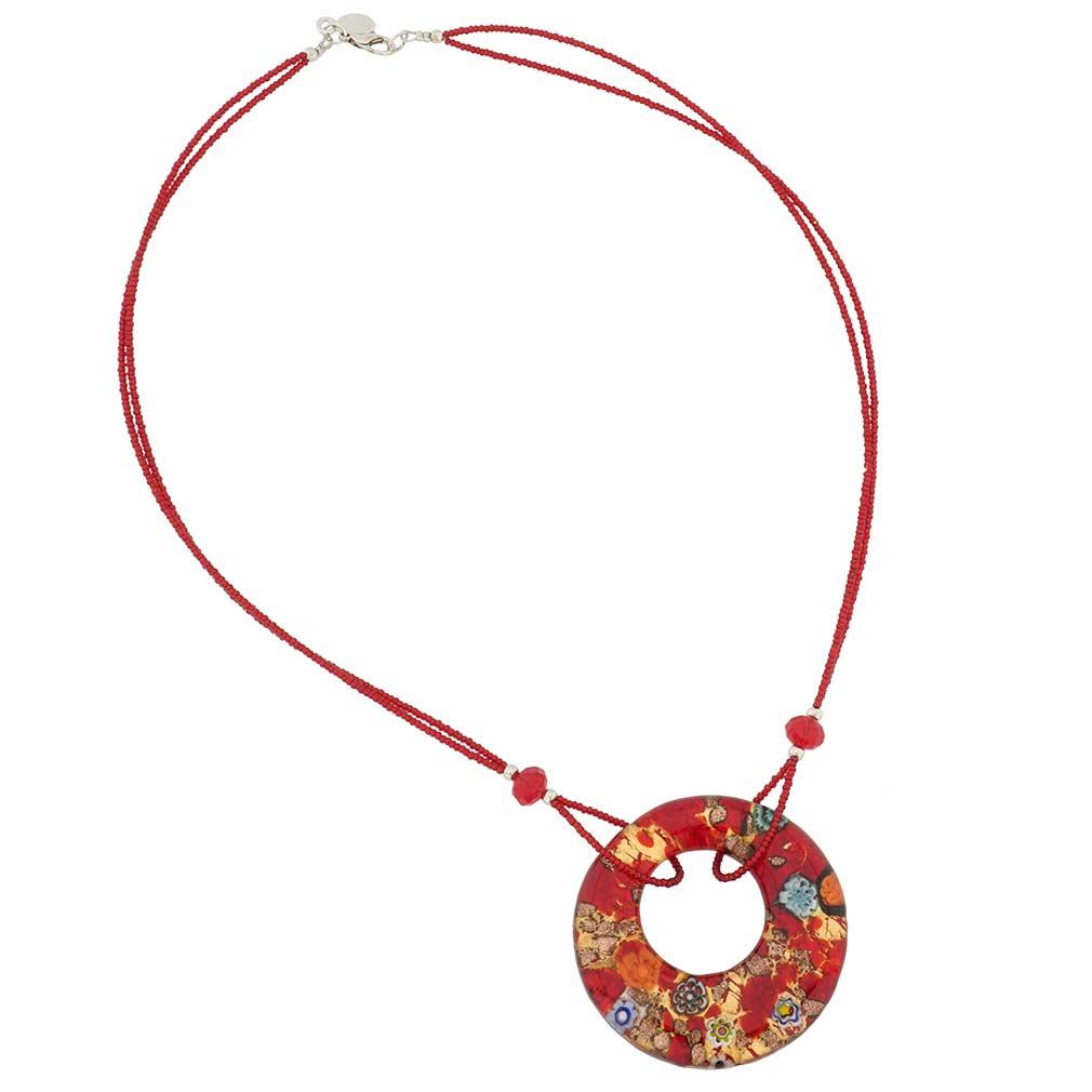 Murano Lava Necklace - Silver Confetti