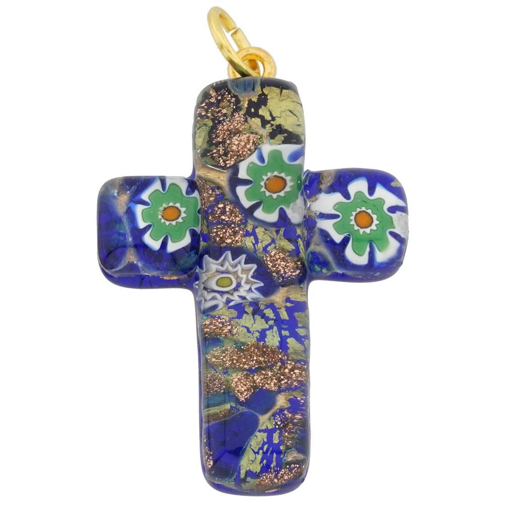 Millefiori Mosaic Cross pendant #3