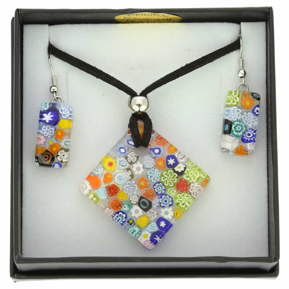 Murano Glass Millefiori Jewelry Set #1
