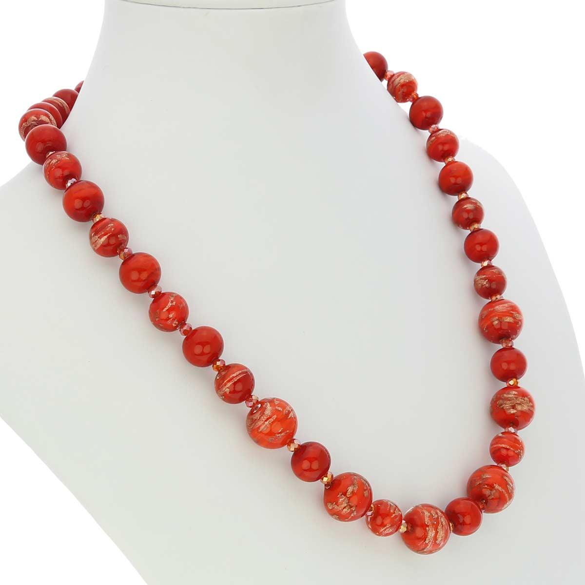 Starlight Murano Necklace - Fire Red