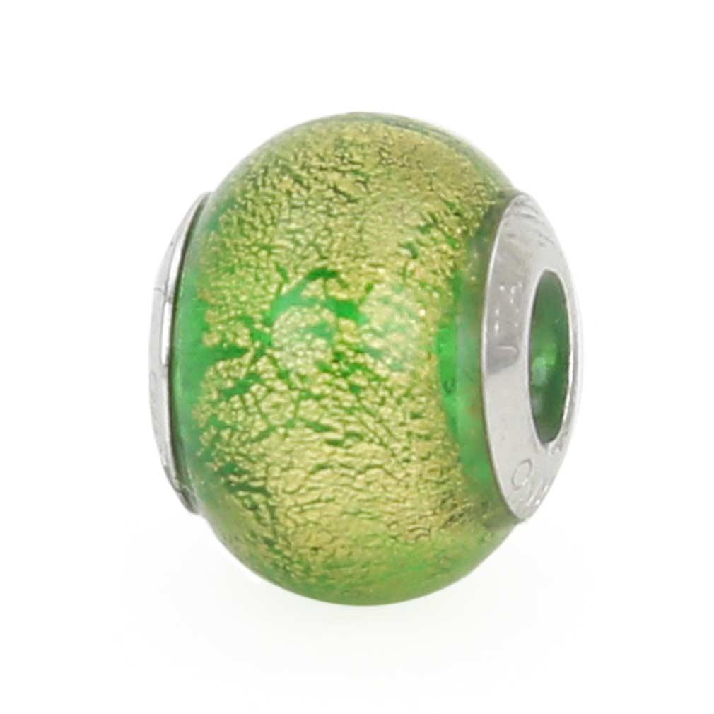 Sterling Silver Ca D\'Oro Emerald Murano Glass Charm Bead