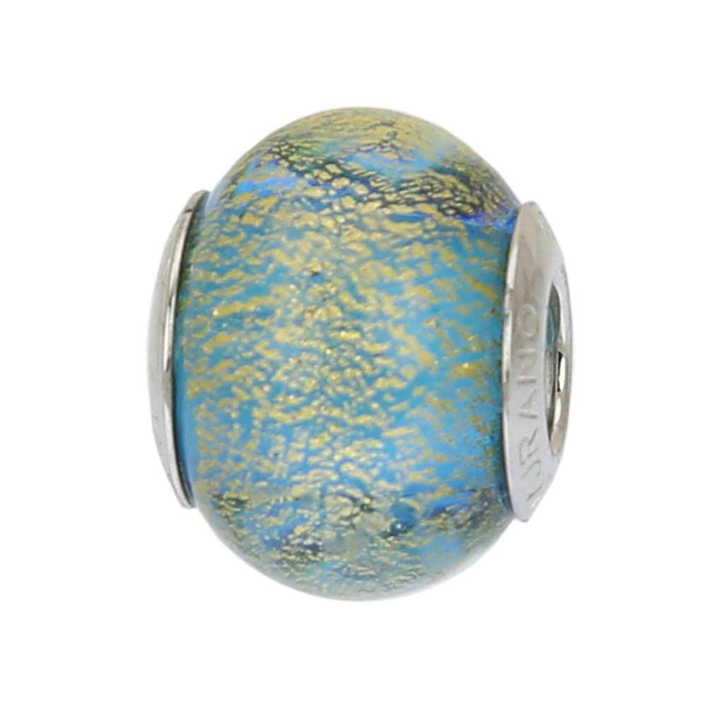 Sterling Silver Ca D'Oro Aqua Murano Glass Charm Bead