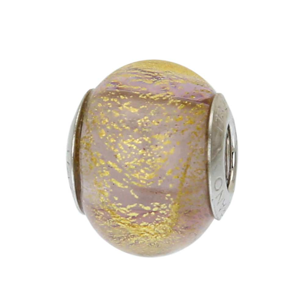 Sterling Silver Ca D\'Oro Amethyst Murano Glass Charm Bead