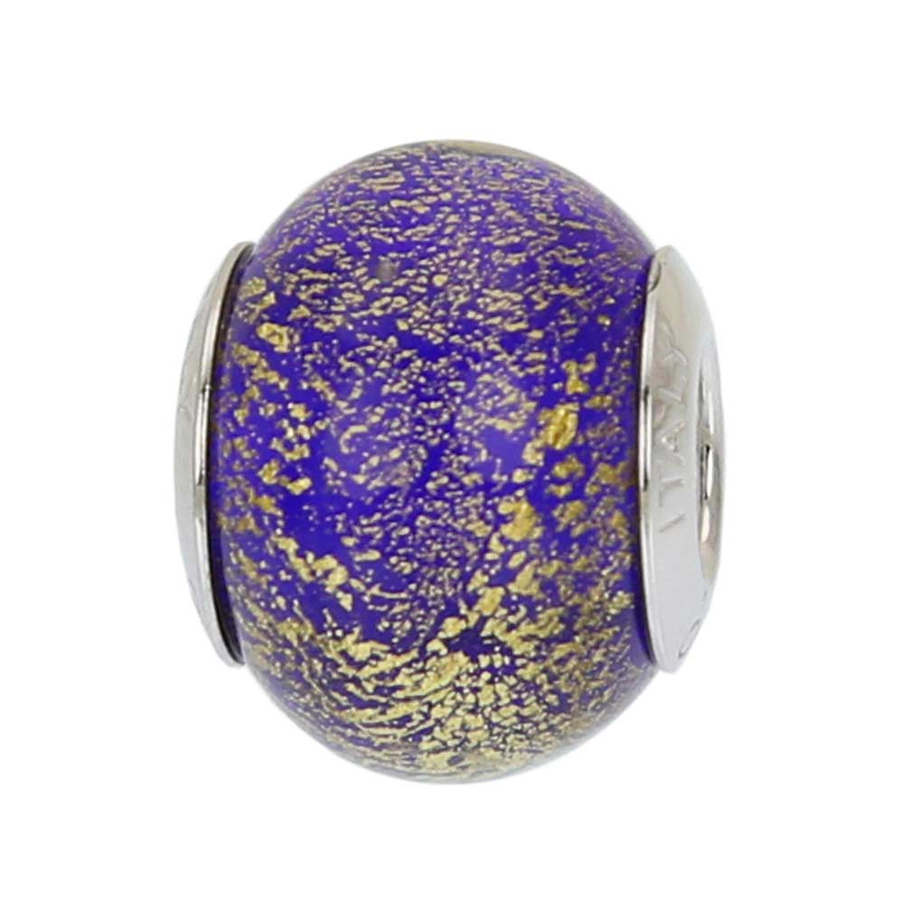 Sterling Silver Ca D'Oro Blue Murano Glass Charm Bead