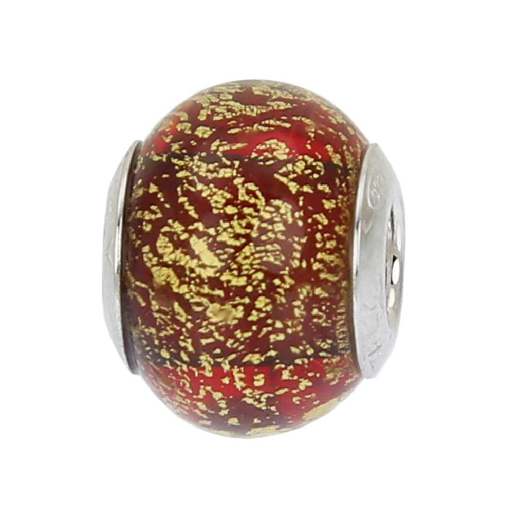 Sterling Silver Ca D'Oro Red Murano Glass Charm Bead
