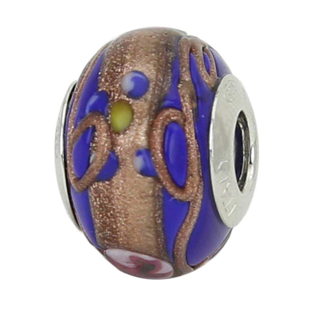 Sterling Silver Fiorato Blue Murano Glass Charm Bead