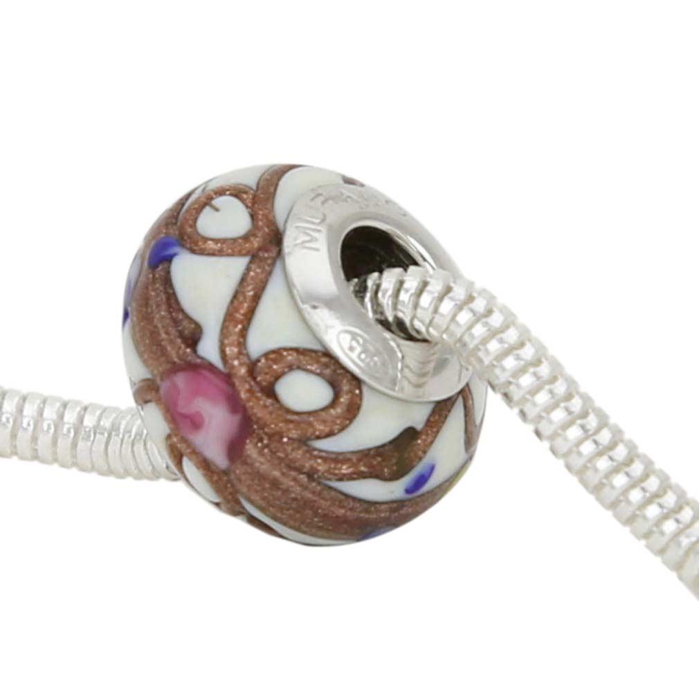 Sterling Silver Fiorato White Murano Glass Charm Bead
