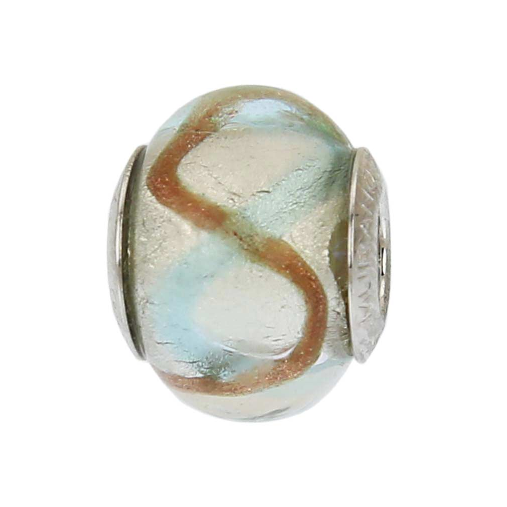 Sterling Silver Aqua Waves Murano Glass Charm Bead
