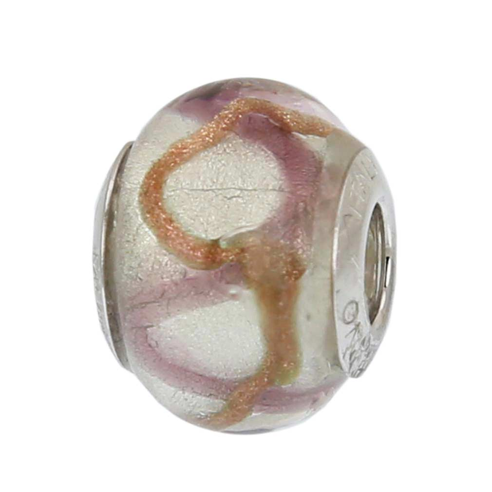 Sterling Silver Amethyst Waves Murano Glass Charm Bead