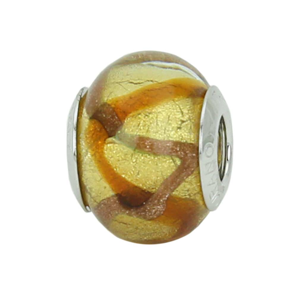 Sterling Silver Topaz Waves Gold Murano Glass Charm Bead