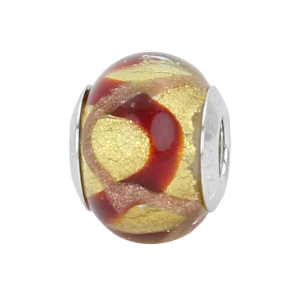 Sterling Silver Red Waves Gold Murano Glass Charm Bead