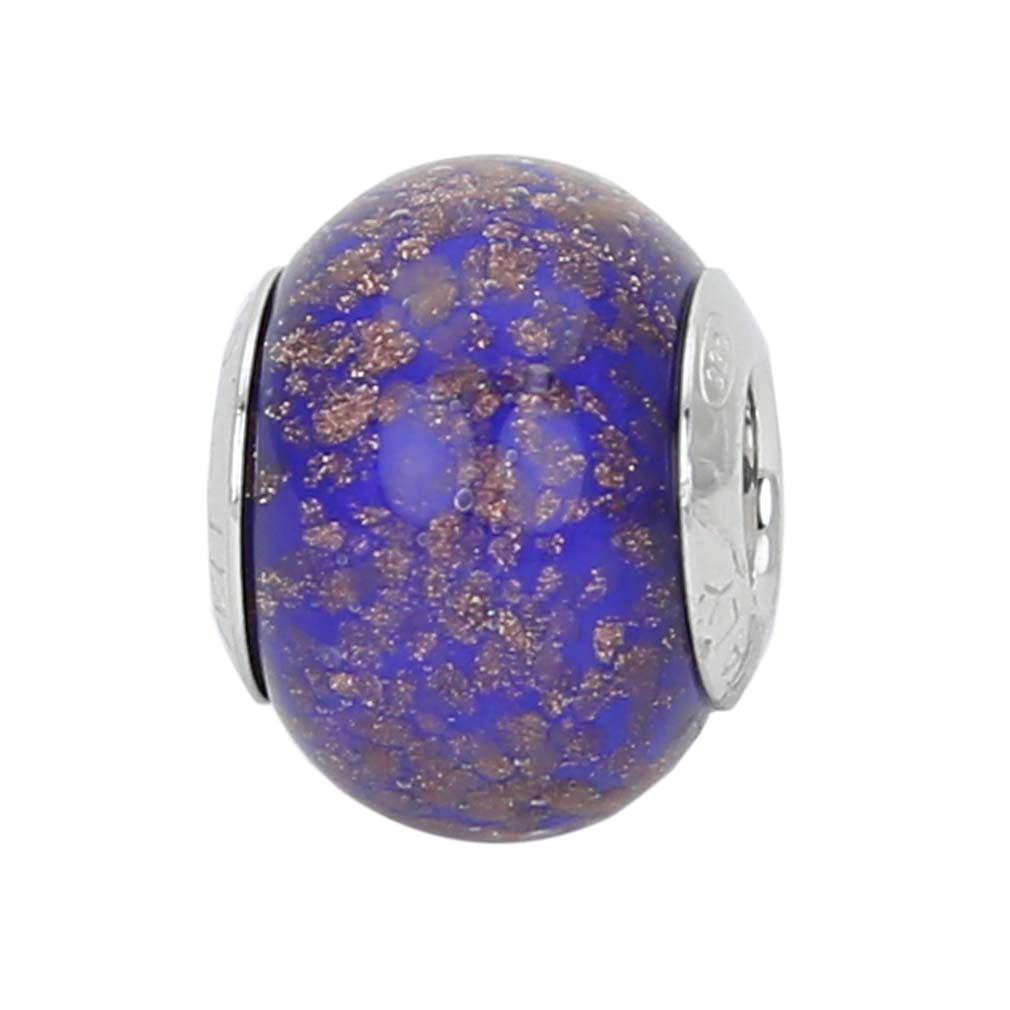 Sterling Silver Blue Avventurina Murano Glass Charm Bead