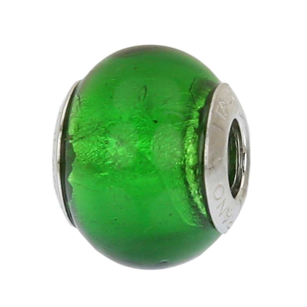 Sterling Silver Green Murano Glass Charm Bead