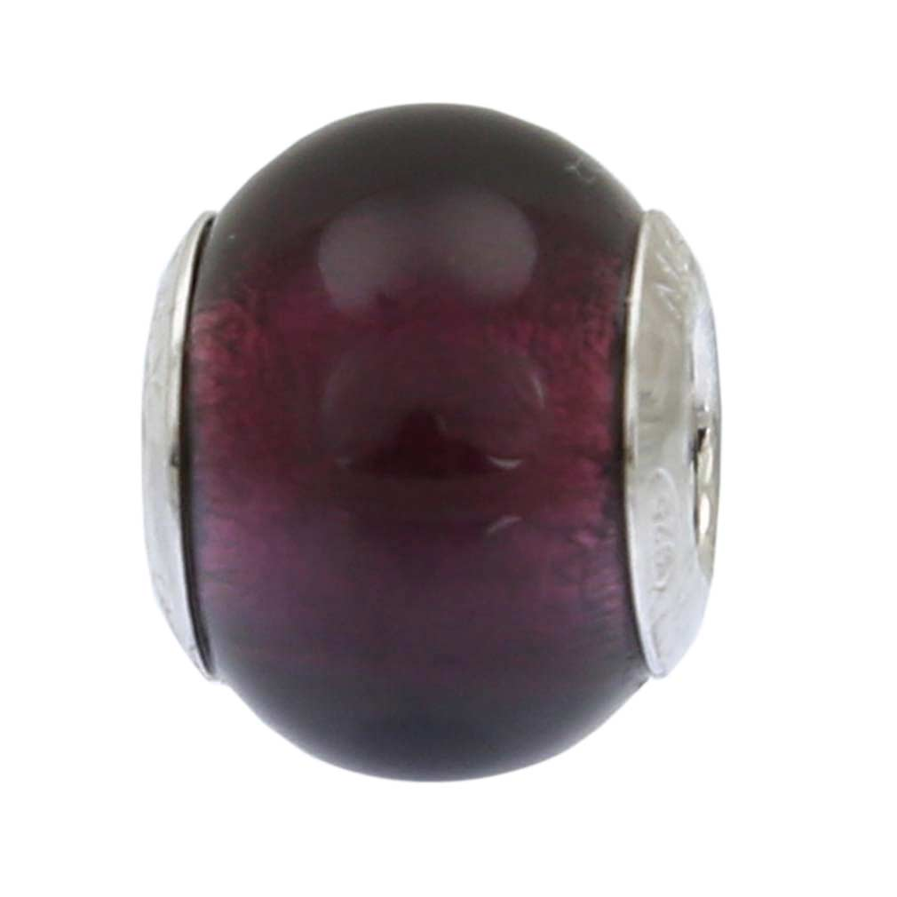 Sterling Silver Purple Murano Glass Charm Bead