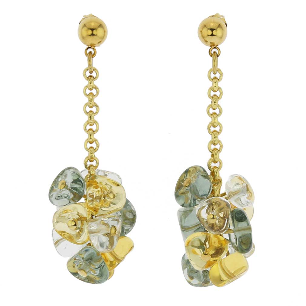 Preziosa Murano Glass Earrings - Gold and Silver Grey