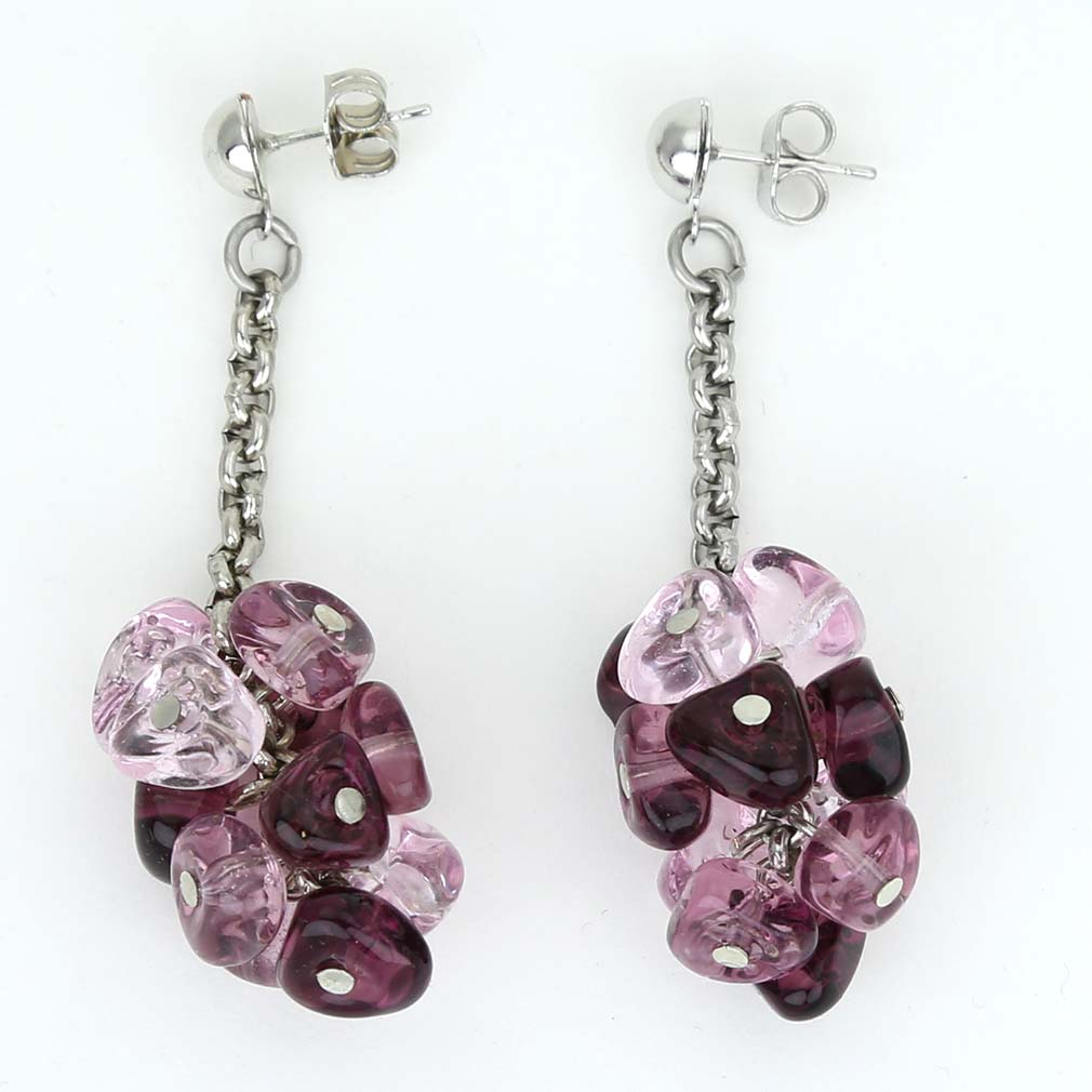 Preziosa Murano Glass Earrings - Amethyst
