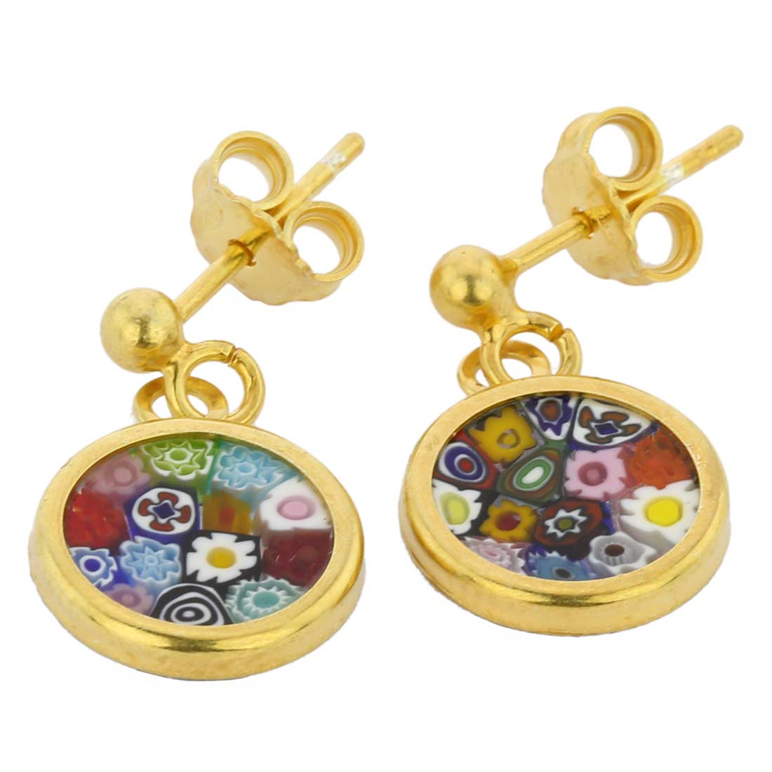 Millefiori earrings in gold-plated frame