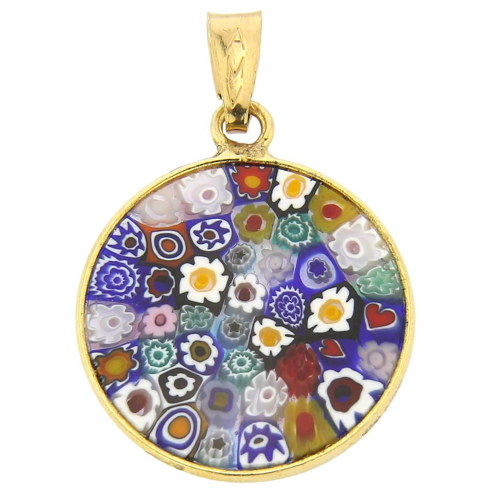 "Small Millefiori Pendant ""Multicolor\"" in Gold-Plated Frame 18mm"
