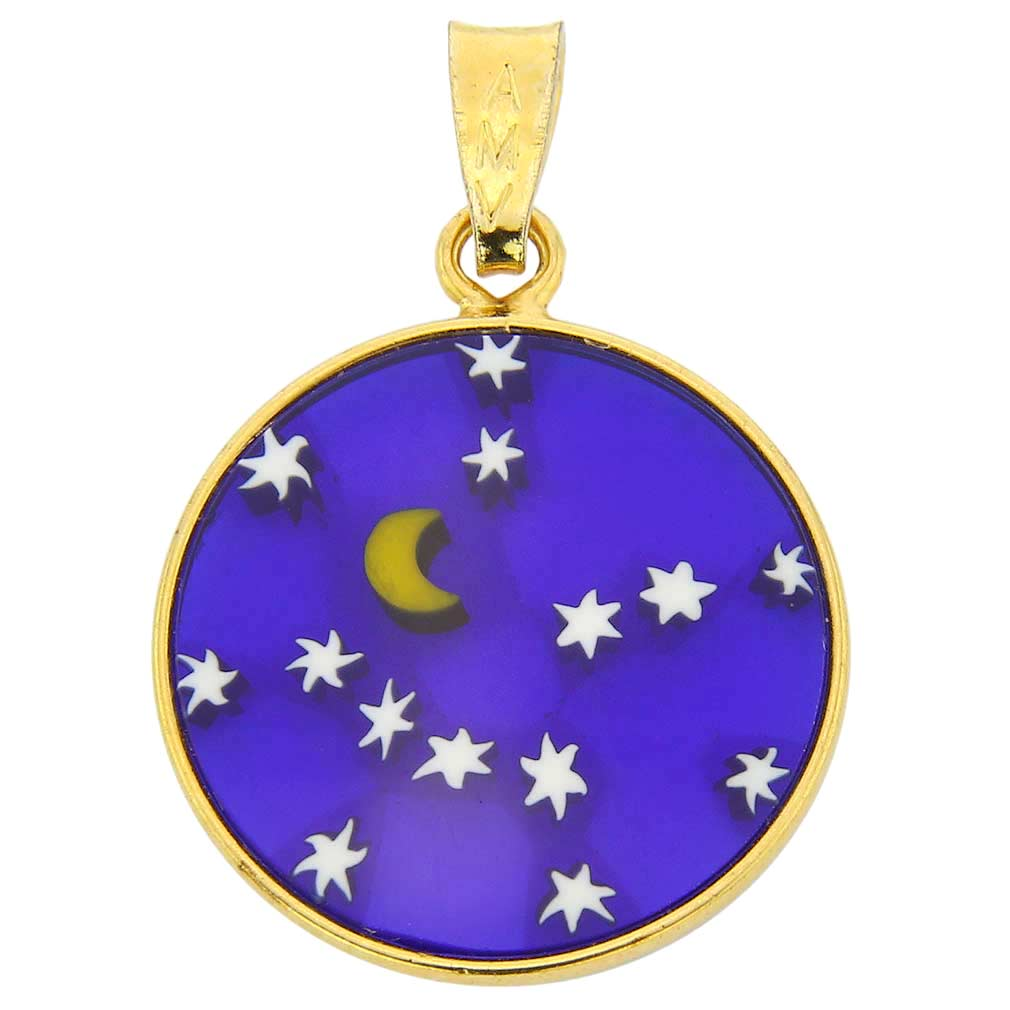 "Small Millefiori Pendant ""Starry Night"" in Gold-Plated Frame 18m"