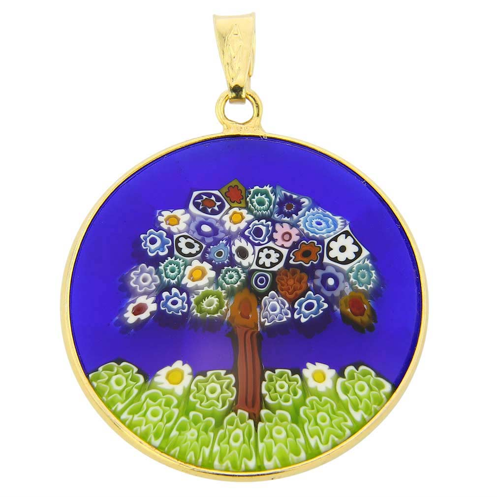 "Medium Millefiori Pendant ""Tree of Life\"" in Gold-Plated Frame 26"