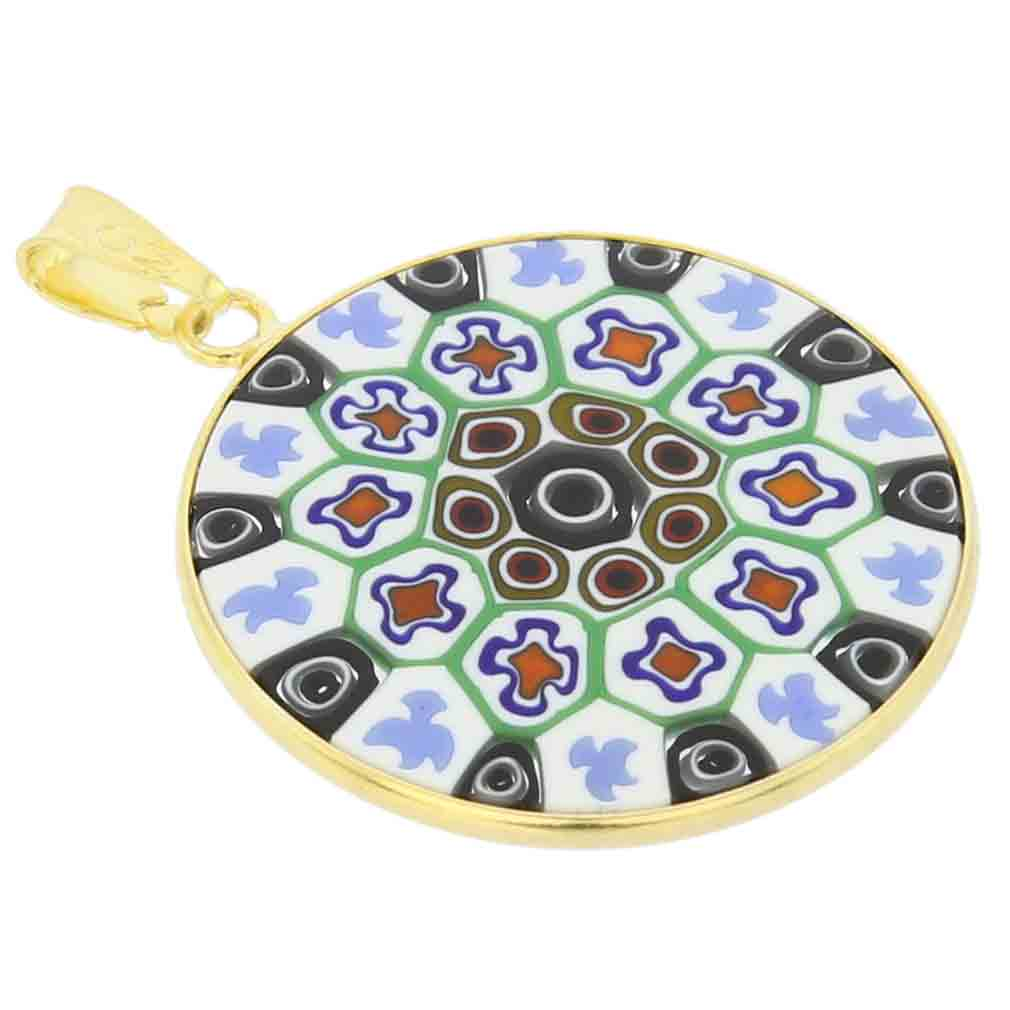 Medium Millefiori Pendant in Gold-Plated Frame 26mm