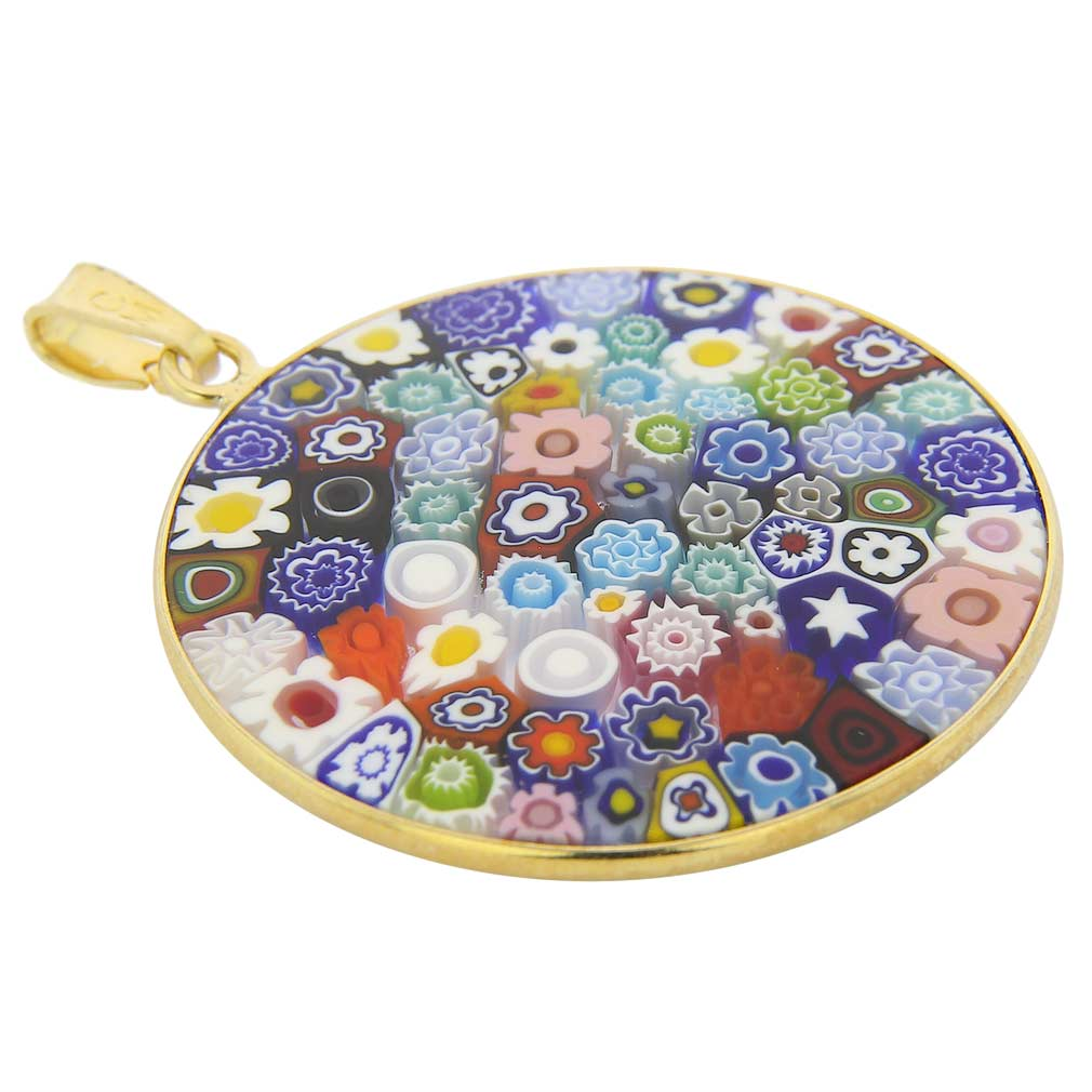 "Large Millefiori Pendant ""Multicolor\"" in Gold-Plated Frame 32mm"