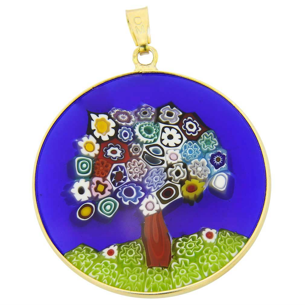 "Large Millefiori Pendant ""Tree of Life\"" in Gold-Plated Frame 32m"