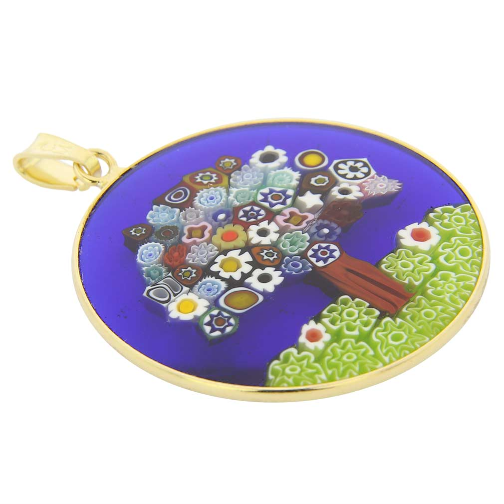 """Large Millefiori Pendant \""""Tree of Life\"""" in Gold-Plated Frame 32m"""