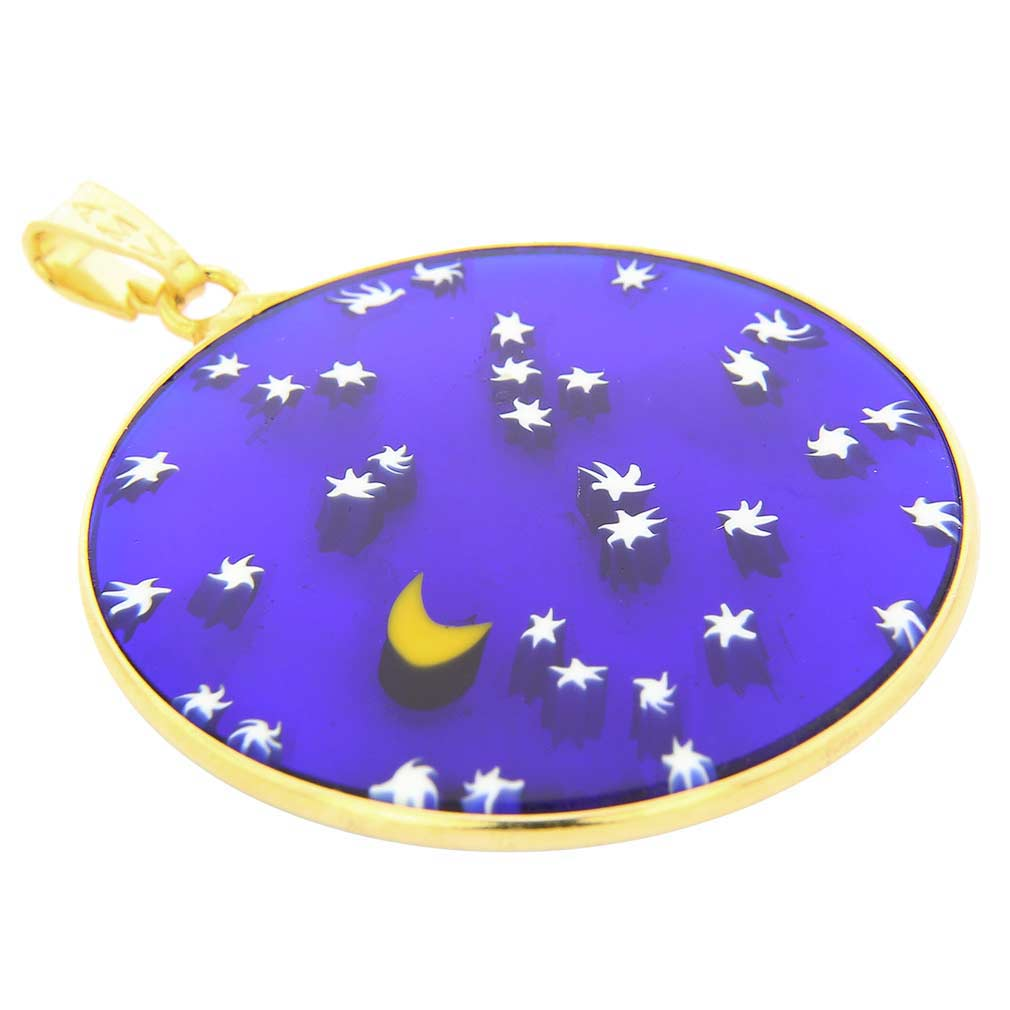 "Large Millefiori Pendant ""Starry Night\"" in Gold-Plated Frame 32m"