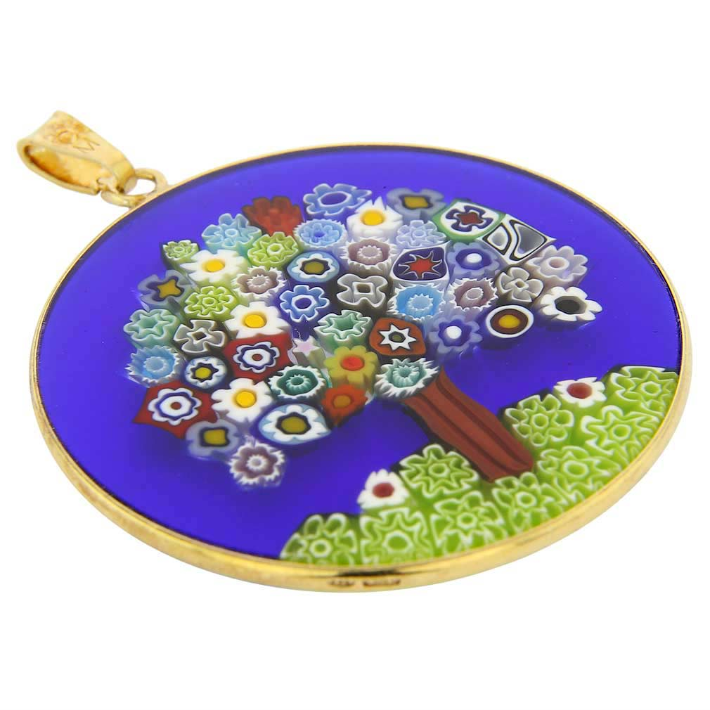 "Large Millefiori Pendant ""Tree of Life\"" in Gold-Plated Frame 36m"