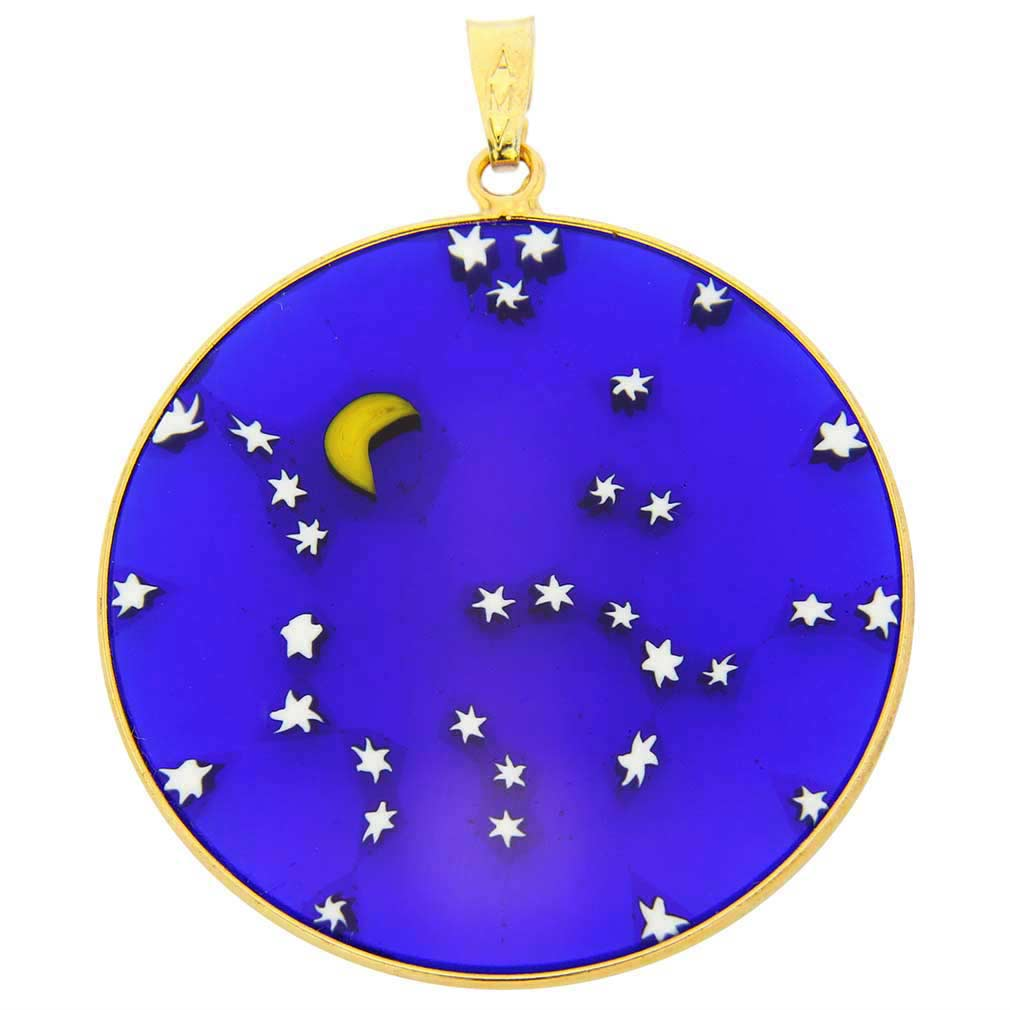 "Large Millefiori Pendant ""Starry Night"" in Gold-Plated Frame 36m"