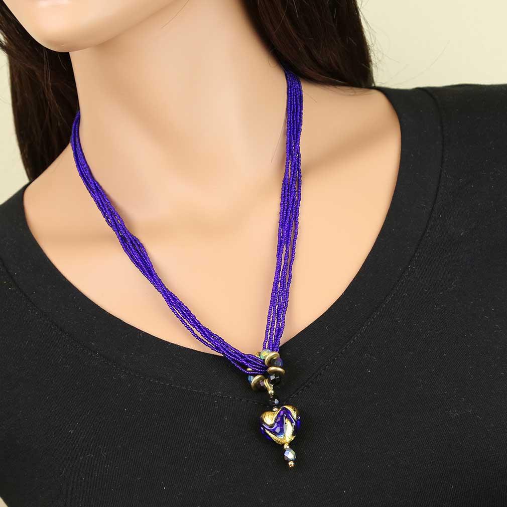 Dark Blue heart necklace