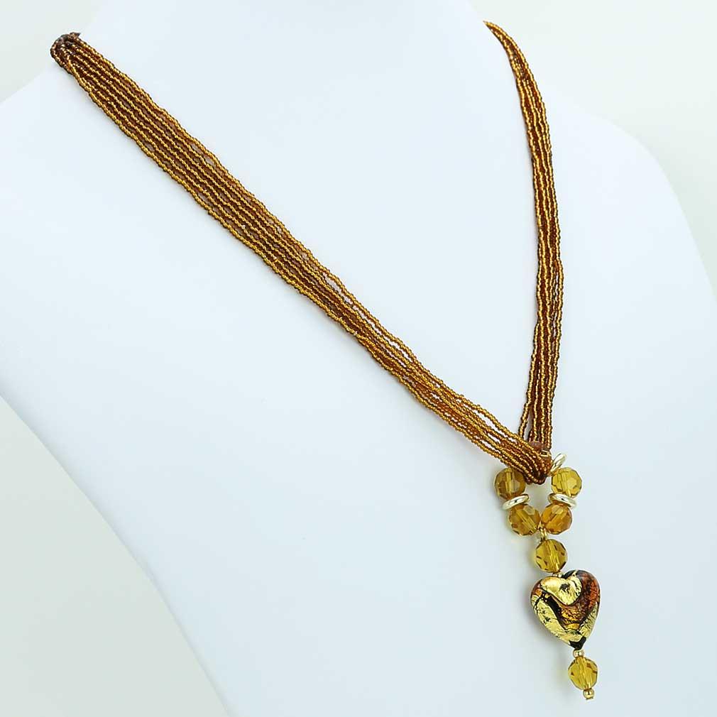 Dark Topaz heart necklace