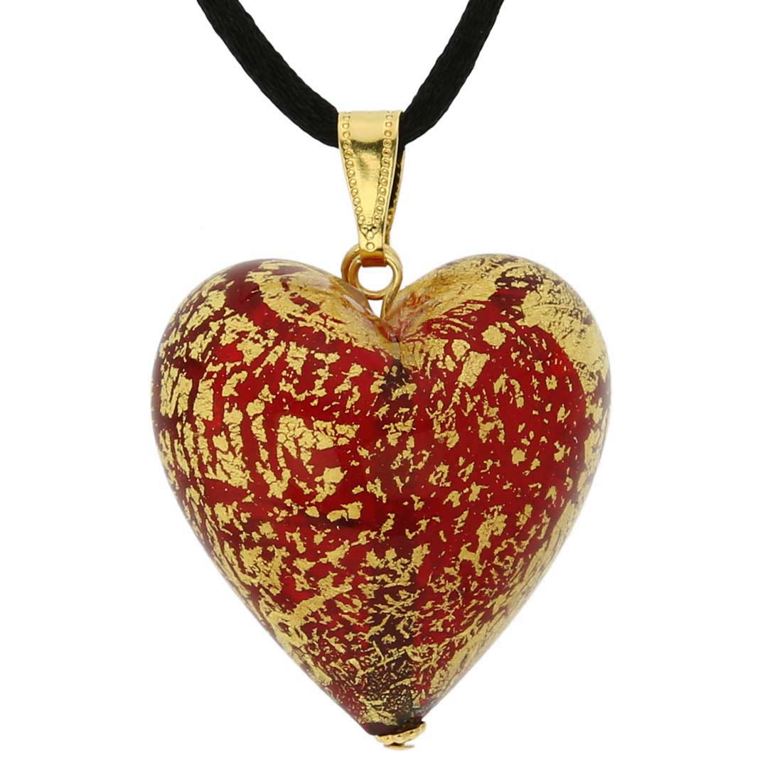 Heart Pendant Ca D'Oro - Ruby Red