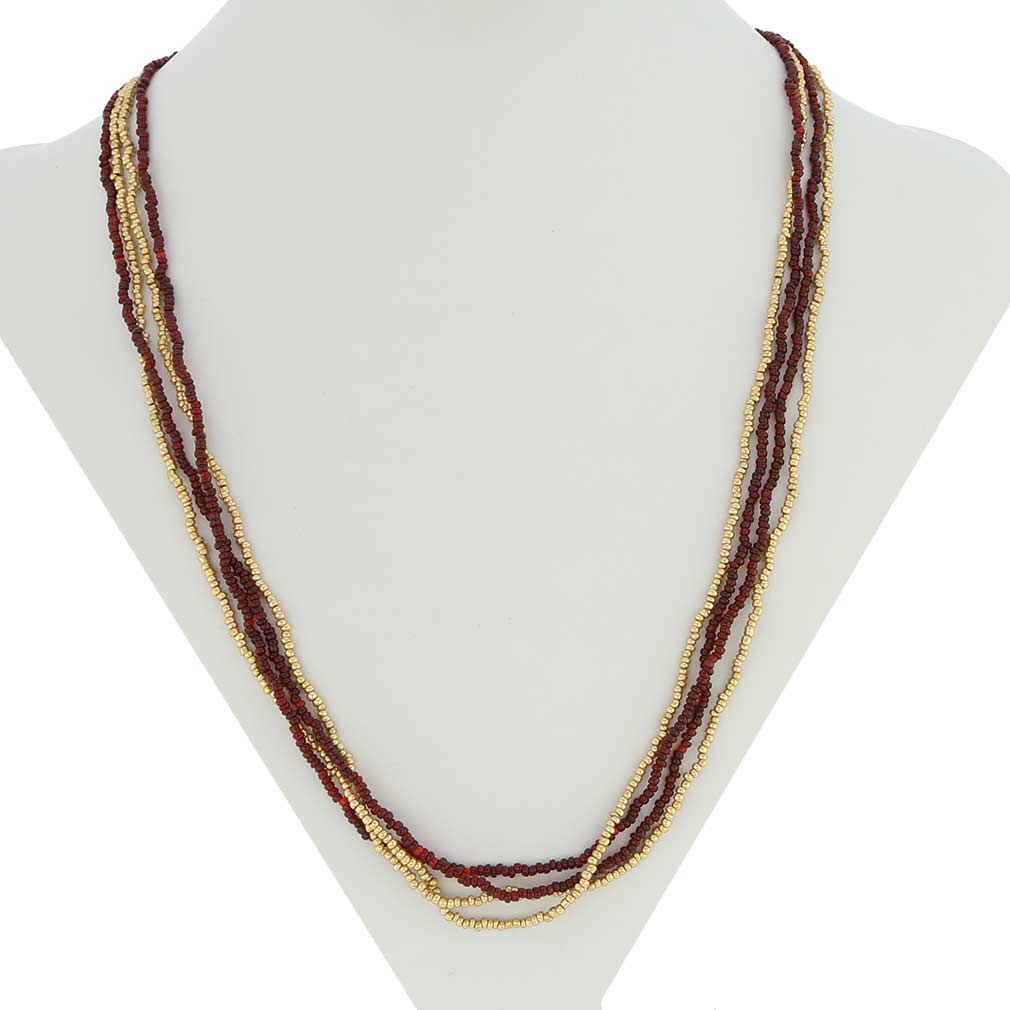 murano necklaces multi strand seed bead necklace gold