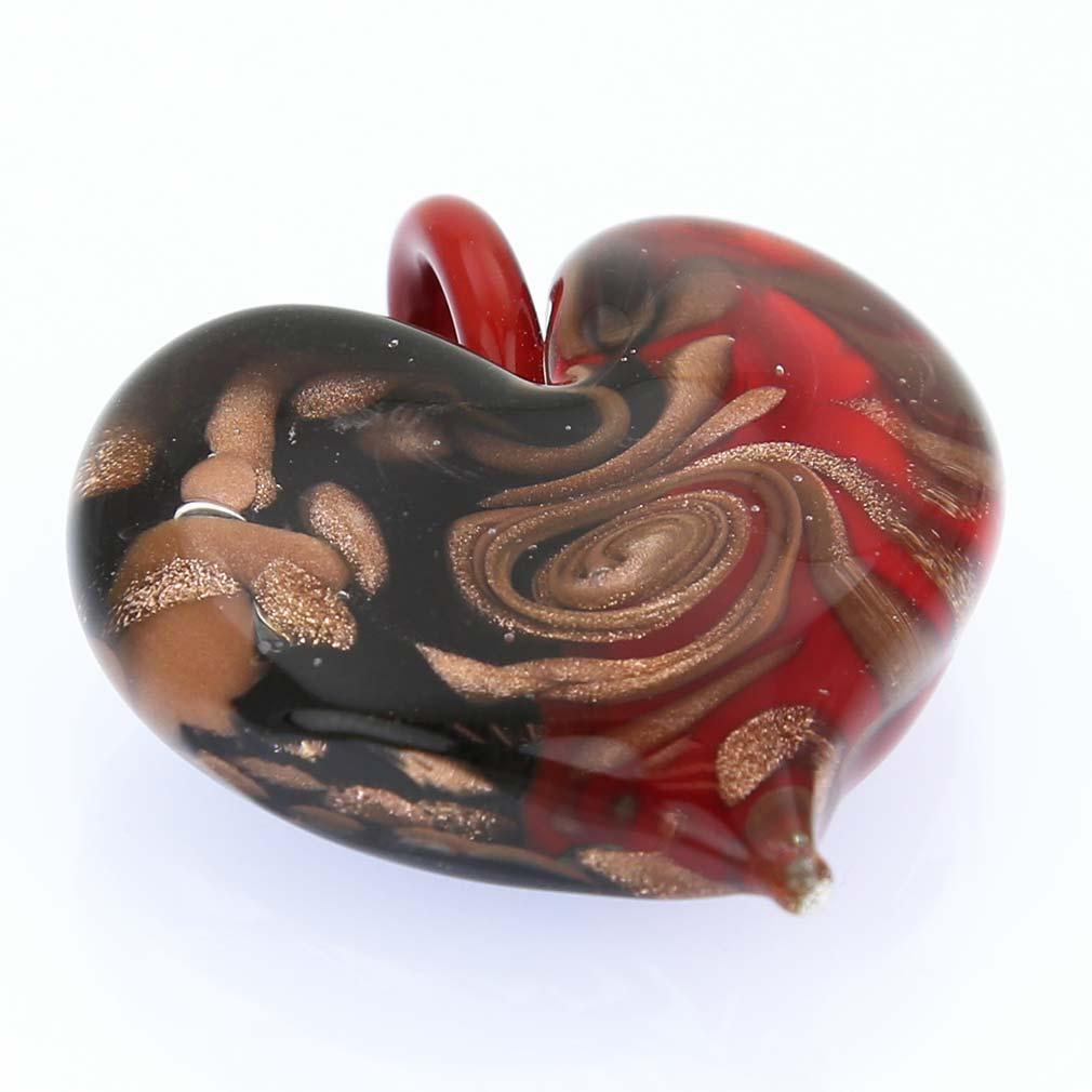 Tender Heart pendant- Black and Red Swirl