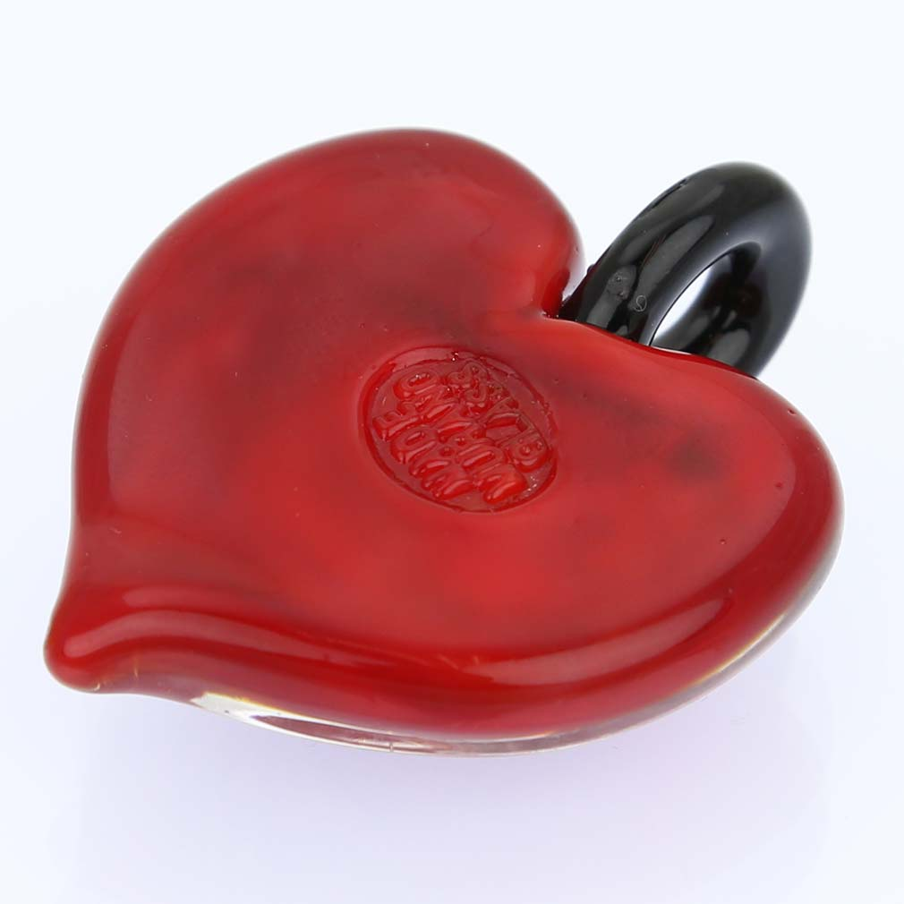 Tender Heart pendant- Burgundy Golden Swirl