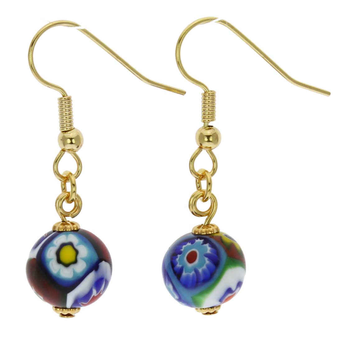 Murano Mosaic Millefiori Ball Earrings - Gold