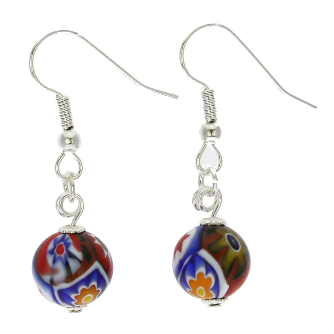 Murano Mosaic Millefiori Ball Earrings - Silver