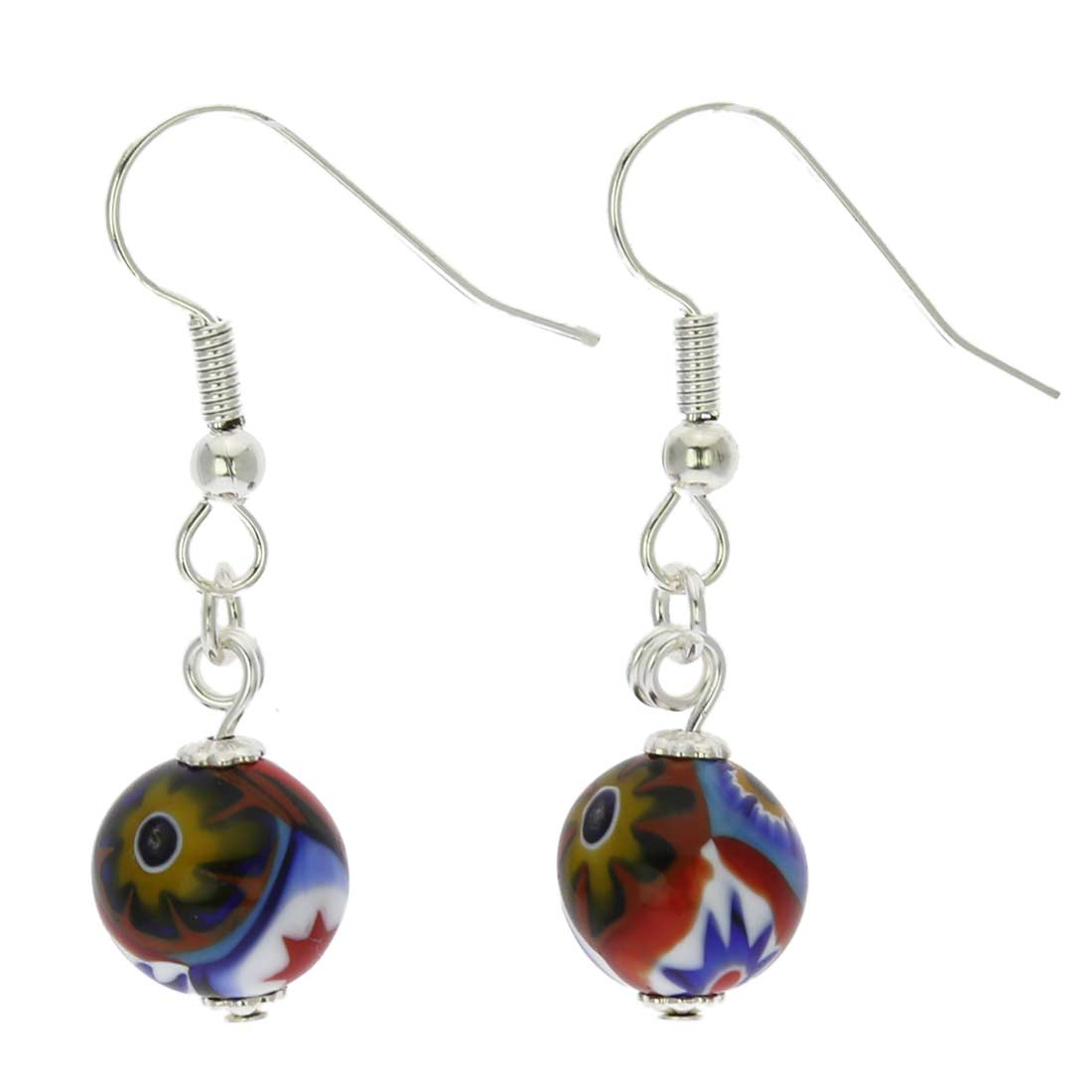 Murano Mosaic Millefiori Ball Earrings - Silver