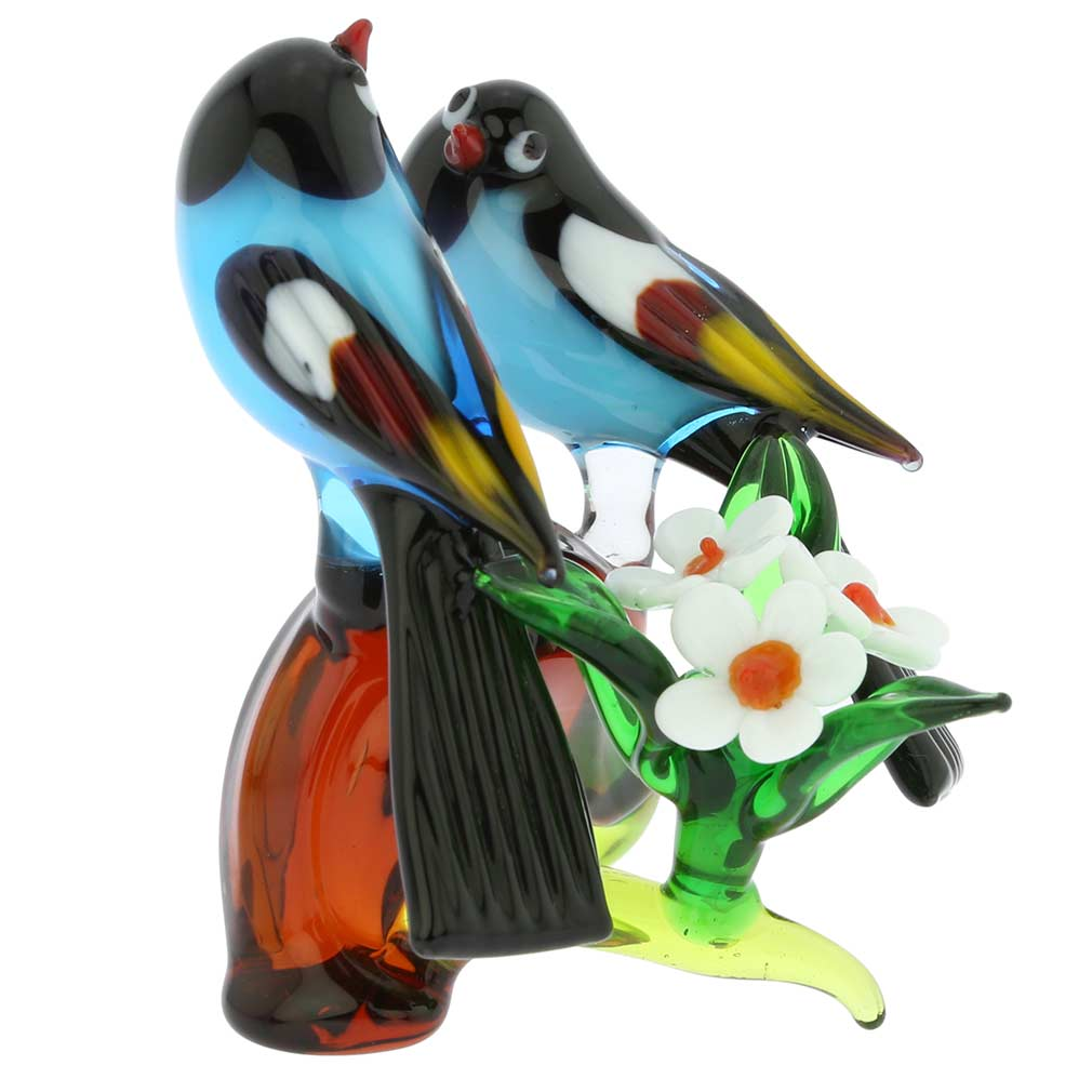 Murano Glass Birds on a Low Branch - Blue