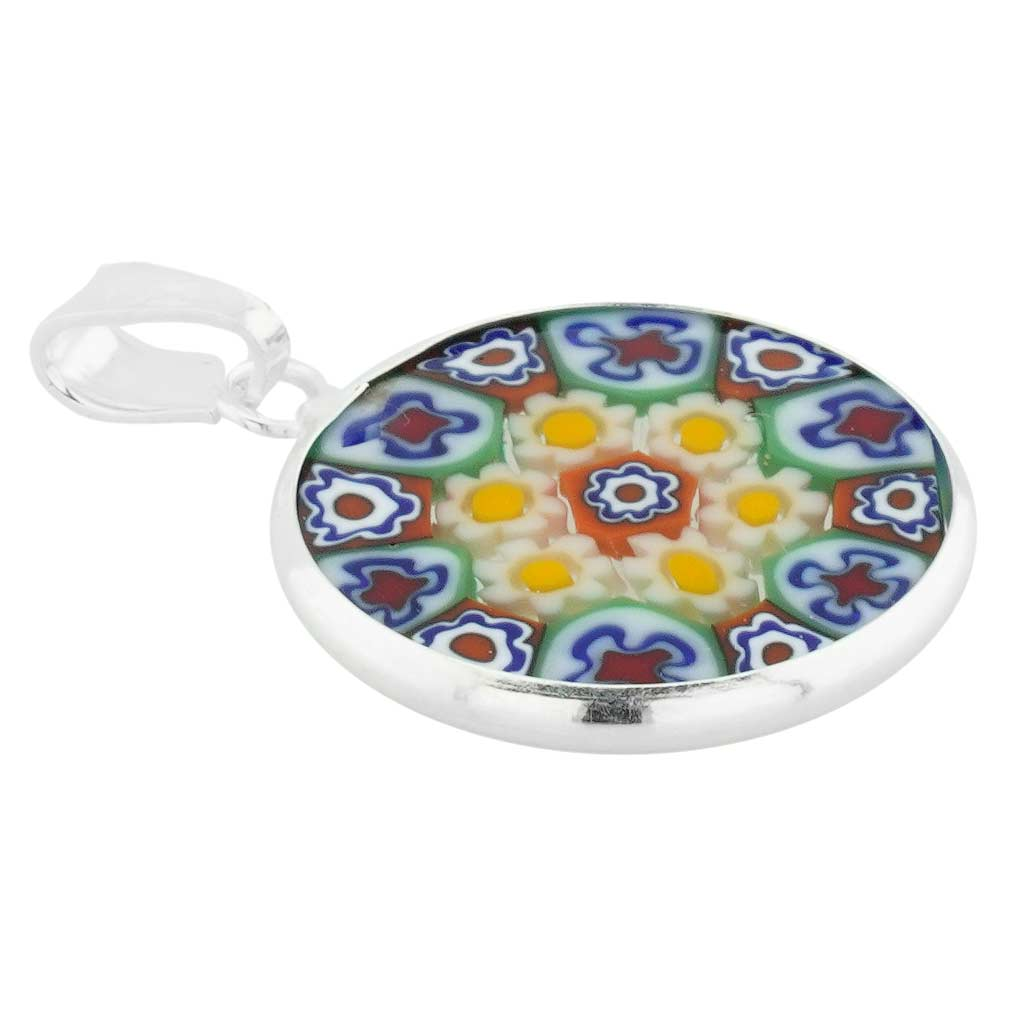 Small Millefiori Pendant in Sterling Silver Frame 18mm