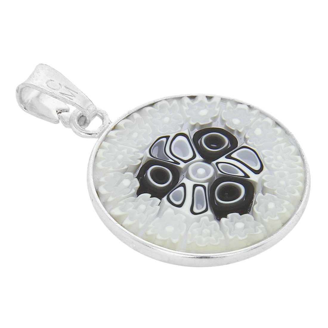 Small Millefiori Pendant in Sterling Silver Frame 18mm