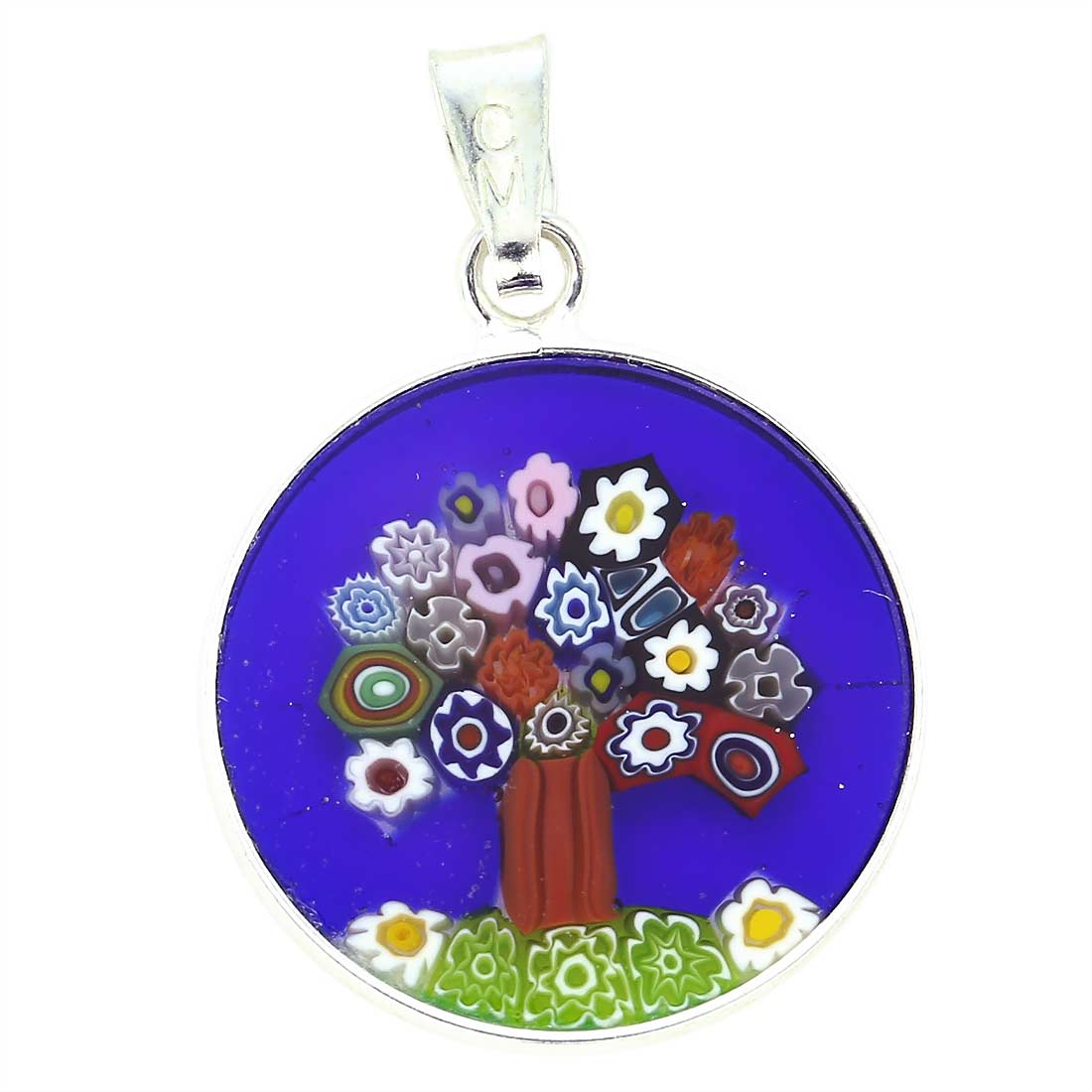 "Small Millefiori Pendant ""Tree of Life\"" in Silver Frame 18mm"