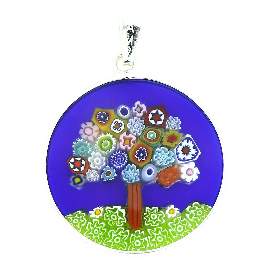 "Medium Millefiori Pendant ""Tree of Life\"" in Silver Frame 26mm"