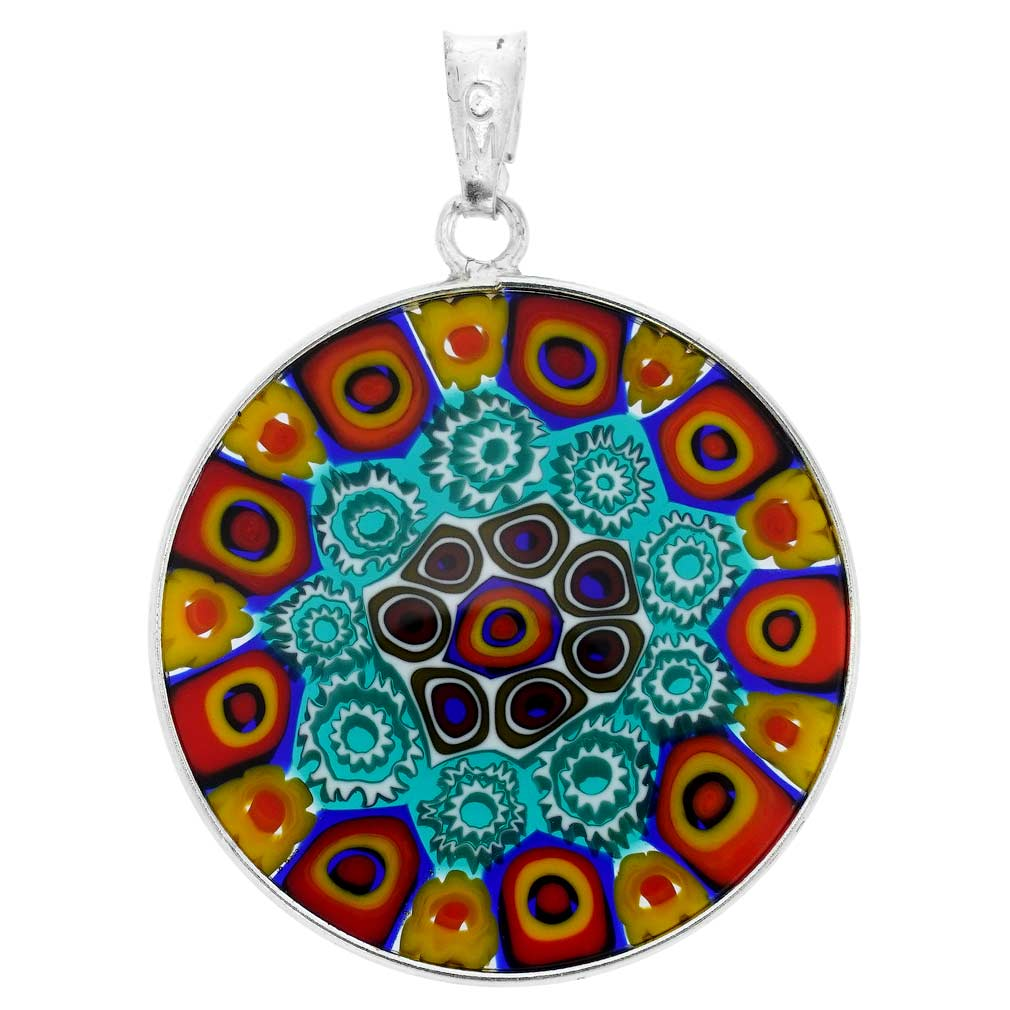 Medium Millefiori Pendant in Sterling Silver Frame 26mm