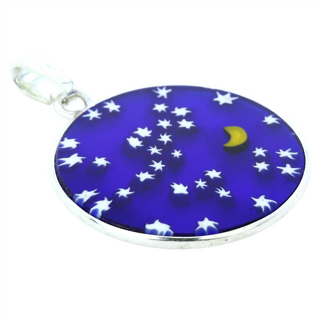 "Medium Millefiori Pendant ""Starry Night\"" in Silver Frame 26mm"