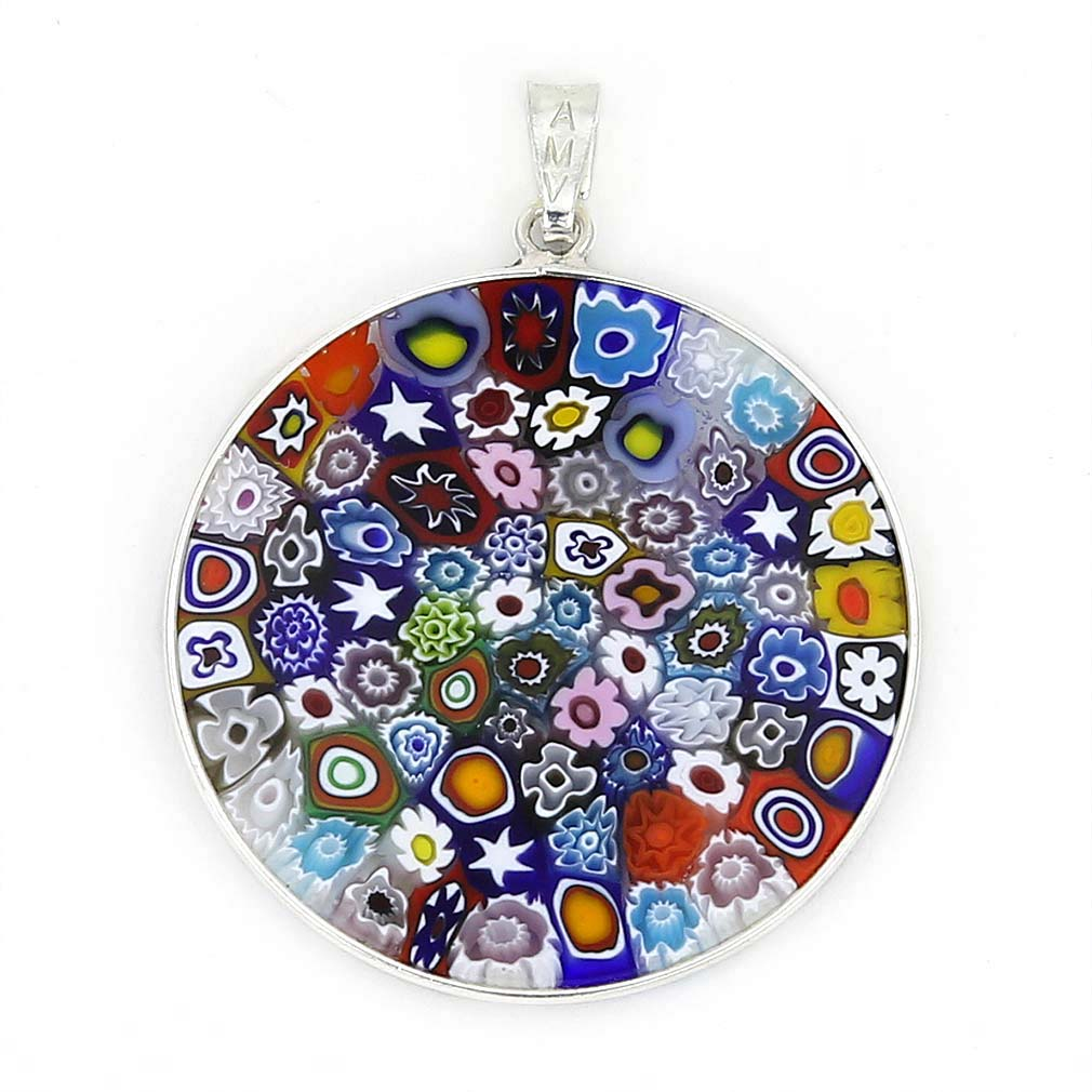 "Large Millefiori Pendant ""Multicolor\"" in Silver Frame 32mm"
