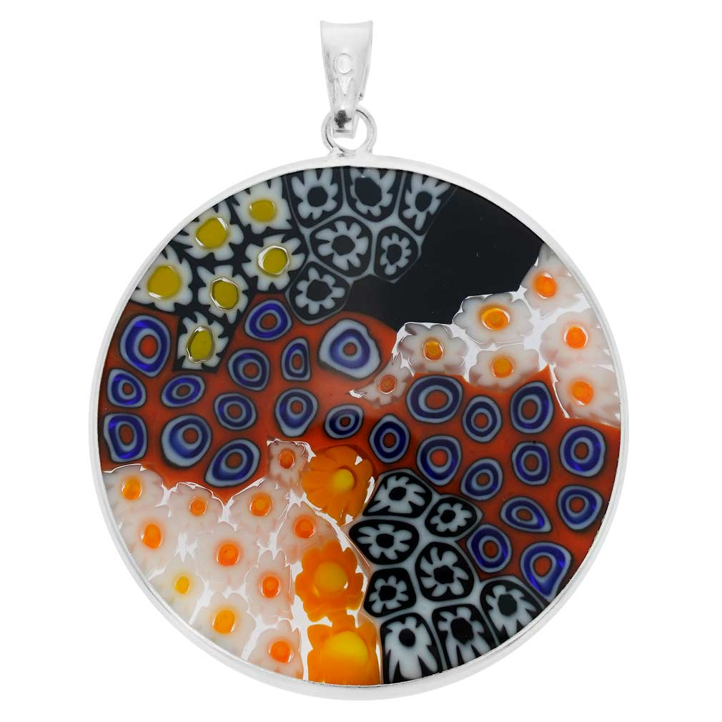 Large Millefiori Pendant in Sterling Silver Frame 32mm