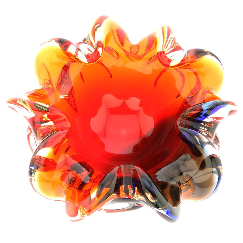 Murano Glass Sommerso Centerpiece Bowl - Red Blue Amber